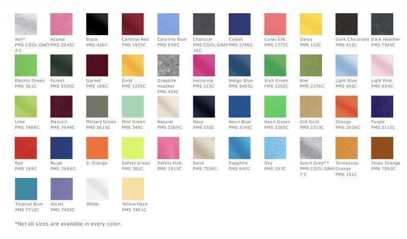 Gildan 5000B colors